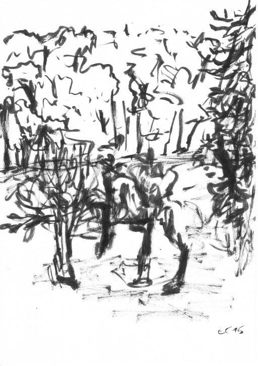 """""""Heutenburg 2"""", 2015, Tusche auf Papier, 20 x 14,8 cm"""
