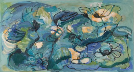 """blaue Stunde"", 2019, Acryl auf Leinwand, 70 x 130 cm"