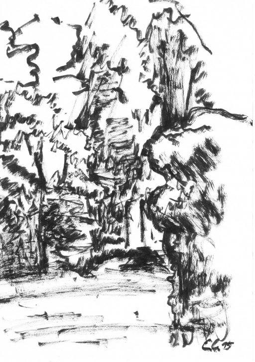 """""""Heutenburg 3"""", 2015, Tusche auf Papier, 20 x 14,8 cm"""