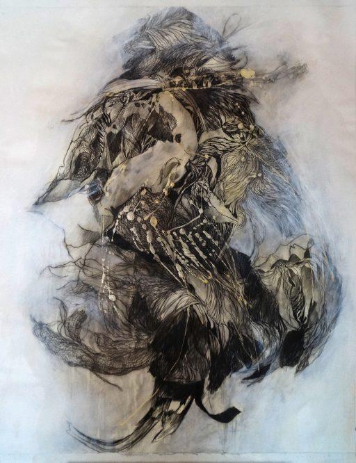 """""""Fritzi der Spiegelfechter"""", 2019, Grafit auf Papier, 94 x 114 cm"""