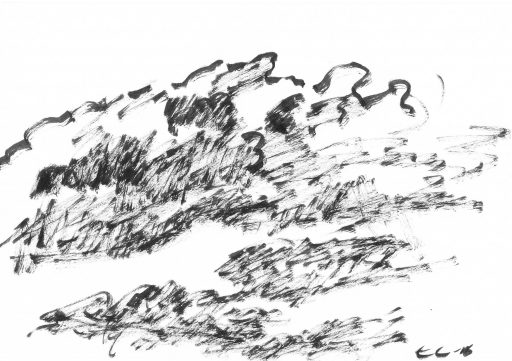 """""""Heutenburg 5"""", 2015, Tusche auf Papier, 14,8 x 20 cm"""