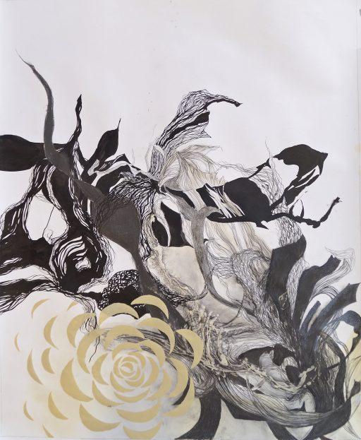 """""""Wasserwelt"""", 2019, Grafit u. Tusche auf Papier, 94 x 114 cm"""