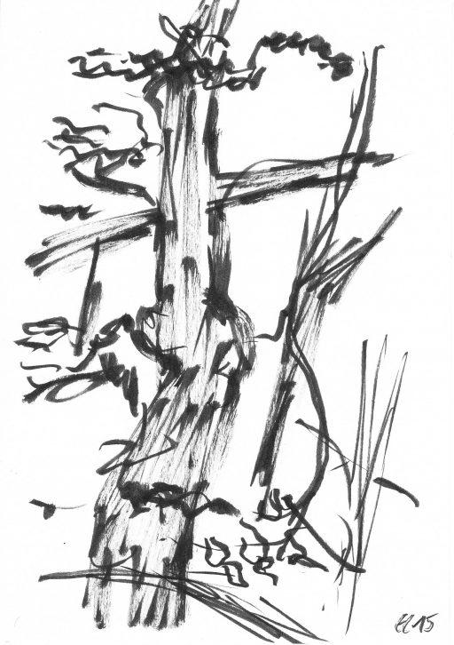 """""""Heutenburg 6"""", 2015, Tusche auf Papier, 20 x 14,8 cm"""