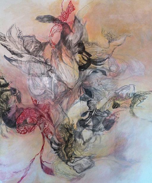 """""""Wasserwelt"""", 2020, Collage auf Polyestergewebe, 100 x 120 cm"""