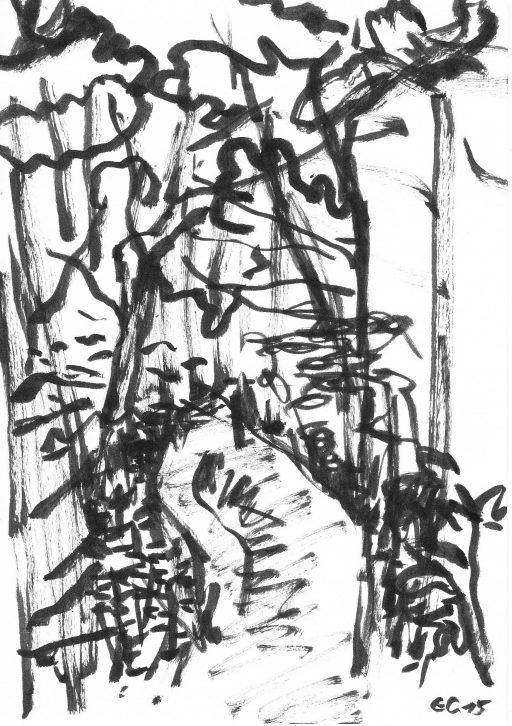 """""""Heutenburg 8"""", 2015, Tusche auf Papier, 20 x 14,8 cm"""