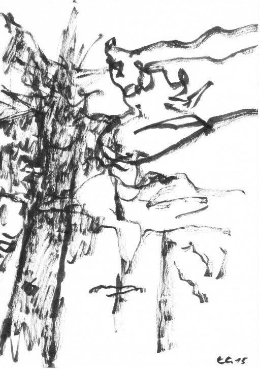 """""""Heutenburg 9"""", 2015, Tusche auf Papier, 20 x 14,8 cm"""