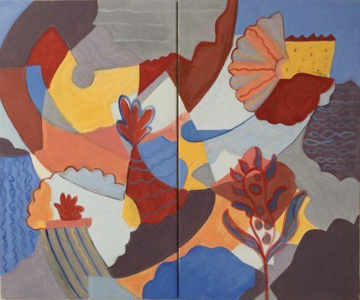 """Schnittmuster"", 2020, Acryl auf Leinwand, 2 x 60 x 100 cm"