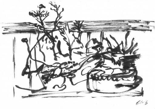 """""""Heutenburg 11"""", 2015, Tusche auf Papier, 14,8 x 20 cm"""