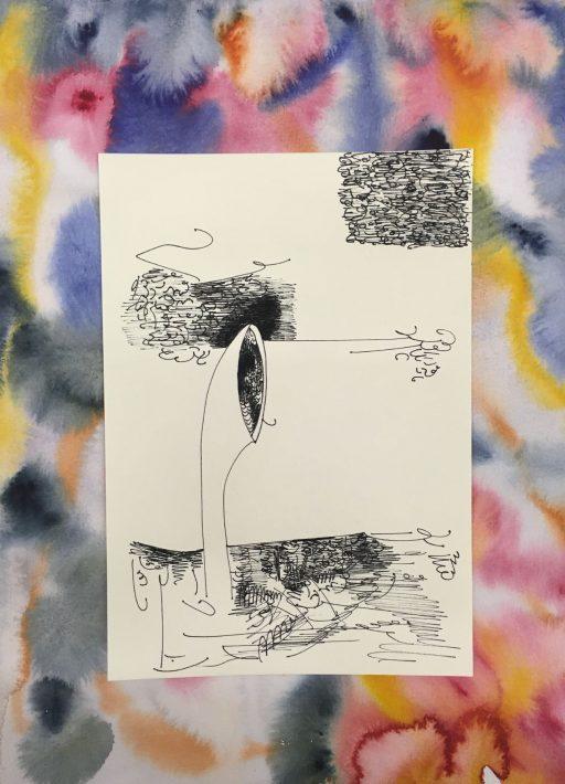 """""""Hutze im Wind (Hutze)"""", 2020, Tusche und Aquarell auf Papier , 40 x 30 cm"""