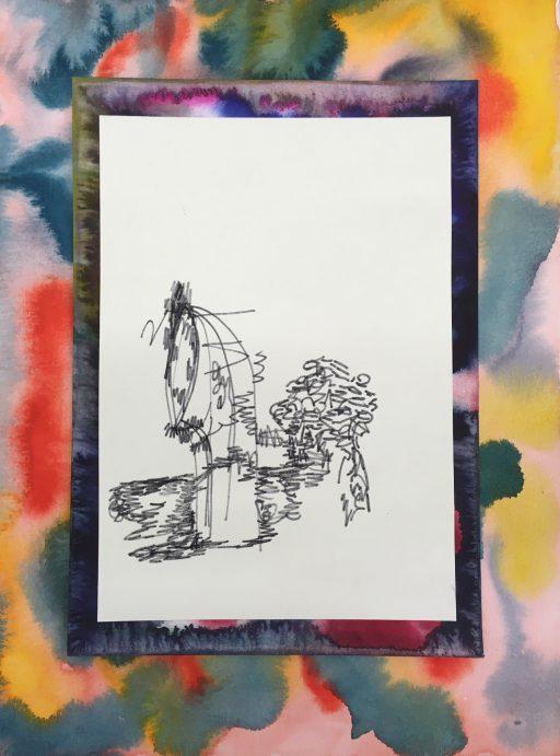 """""""Tätowiervorschlag (Hutze für Mareike)"""", 2020, Tusche und Aquarell auf Papier, 40 x 30 cm"""