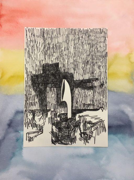 """""""Gorgon im Regen (Hutze)"""", 2020, Tusche und Aquarell auf Papier, 40 x 30 cm"""