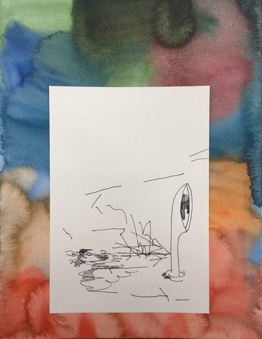 """""""Gute Aussicht (Hutze)"""", 2020, Tusche und Aquarell auf Papier, 40 x 30 cm"""