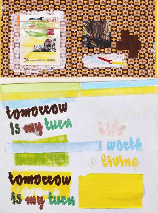"""""""tomorrow is my turn"""", 2020, Collage auf Holzplatte, 154 x 106 cm"""