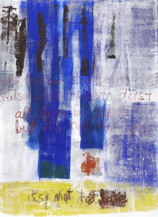 """it's not too late"", 2020, Monotypie auf Papier, 154 x 106 cm"