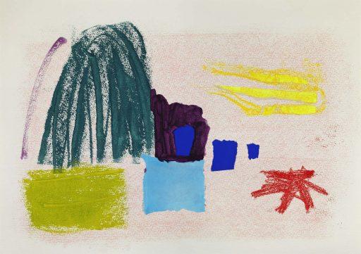 """""""weiß blau gelb grün rot 8"""", 2019, Mischtechnik auf Papier, 30,5 x 43 cm"""