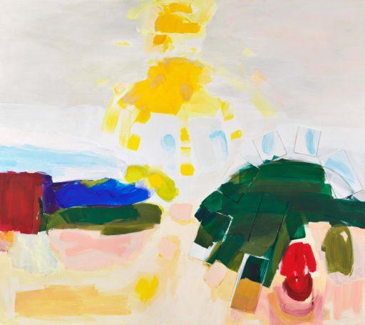 """""""weiß blau gelb grün rot 9"""", 2020, Öl auf Leinwand, 160 x 180 cm"""