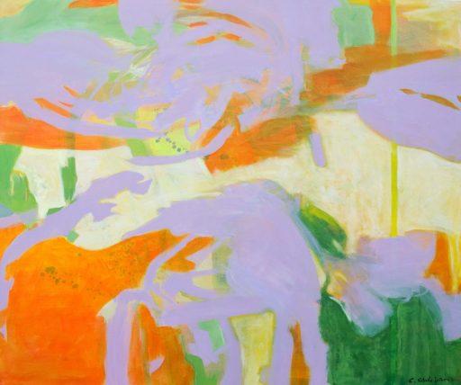 """Orange Lila Landscape"", 2019, Öl auf Nessel, 150 x 180 cm"