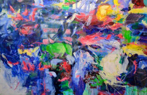 """""""Wolke 7"""", 2017, Öl auf Nessel, 180 x 280 cm"""